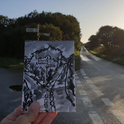 #235,Crossroads,,Traboe/Manaccan,Cornwall,poltesco, sketch artist, sketchbook, original art, affordable art, mini art, postcard art, art project, artist, cornish art, church
