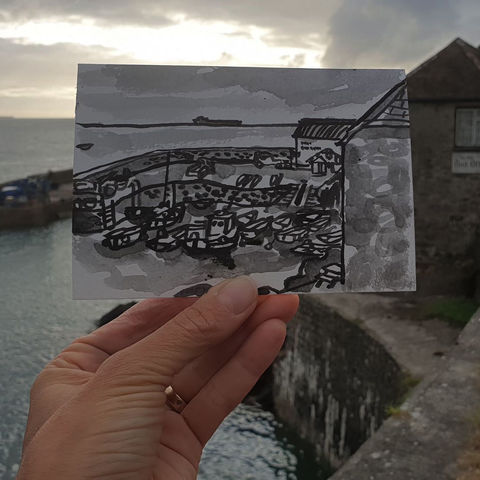 #236,Coverack,Harbour,,Cornwall,coverack, harbour, sketch artist, sketchbook, original art, affordable art, mini art, postcard art, art project, artist, cornish art, church