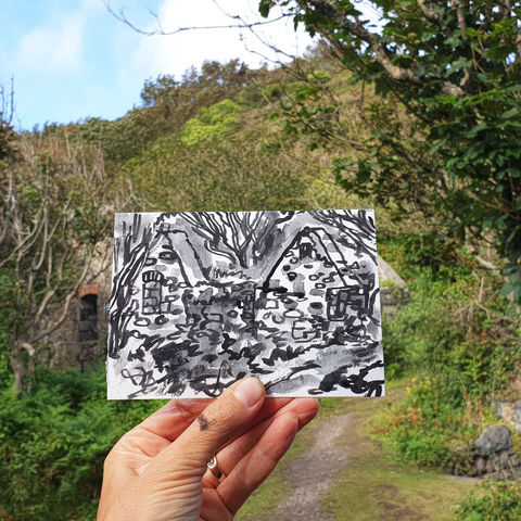 #238,Building,Ruin,,Poltesco,Cove,,Cornwall,poltesco cove, sketch artist, sketchbook, original art, affordable art, mini art, postcard art, art project, artist, cornish art, church