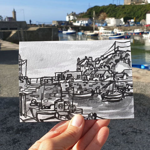 #239,Harbour,,Porthleven,,Cornwall,porthleven, sketch artist, sketchbook, original art, affordable art, mini art, postcard art, art project, artist, cornish art, church