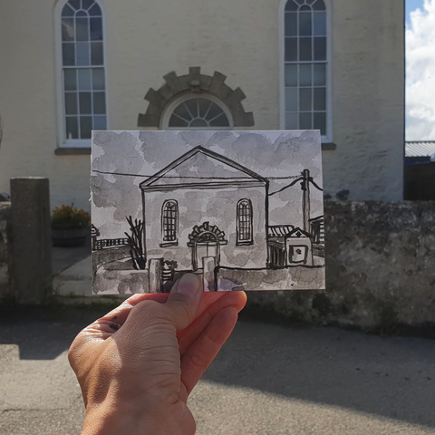 #240,Lizard,Chapel,,Cornwall,lizard chapel, sketch artist, sketchbook, original art, affordable art, mini art, postcard art, art project, artist, cornish art, church