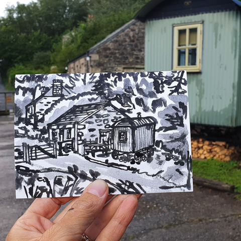 #241,Ranger,Hut,,Poltesco,,Cornwall,poltesco, ranger huts, sketch artist, sketchbook, original art, affordable art, mini art, postcard art, art project, artist, cornish art, church