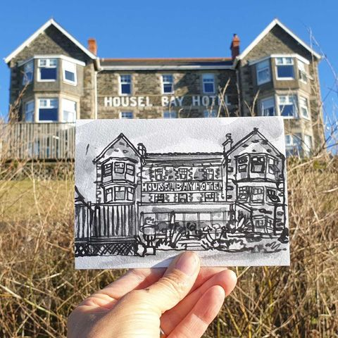 #243,Housel,Bay,Hotel,,Lizard,,Cornwall,housel bay hotel, sketch artist, sketchbook, original art, affordable art, mini art, postcard art, art project, artist, cornish art, church
