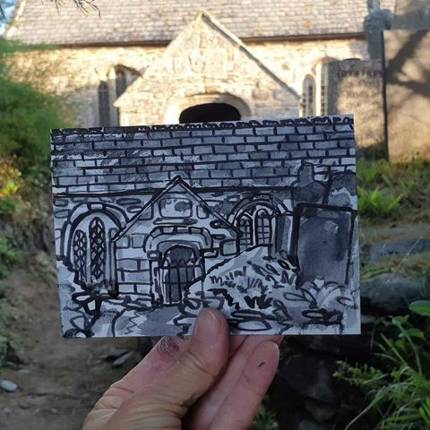 #244,St.,Winwaloe,,Gunwalloe,Cornwall,st. winwaloe, gunwalloe, sketch artist, sketchbook, original art, affordable art, mini art, postcard art, art project, artist, cornish art, church