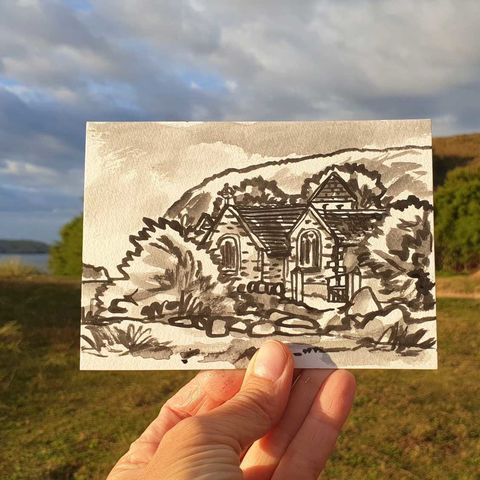#245,St.,Winwaloe,,Gunwalloe,Cornwall,st. winwaloe, gunwalloe, sketch artist, sketchbook, original art, affordable art, mini art, postcard art, art project, artist, cornish art, church