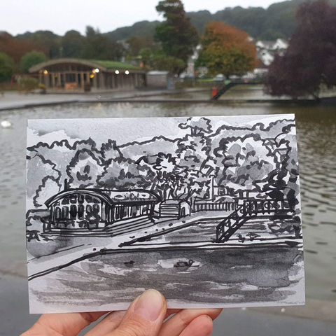 #246,Boating,Lake,,Helston,,Cornwall,boating lake, helston, sketch artist, sketchbook, original art, affordable art, mini art, postcard art, art project, artist, cornish art, church