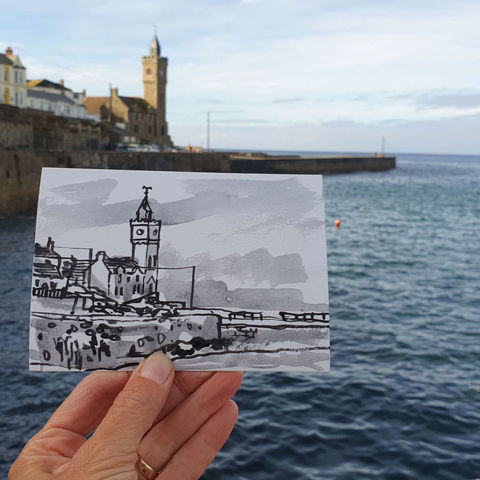 #251,Bickford,Smith,Institute,,Porthleven,,Cornwall,bickford smith, porthleven, sketch artist, sketchbook, original art, affordable art, mini art, postcard art, art project, artist, cornish art, church