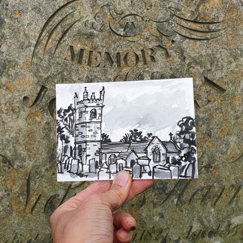 #252,St.Mawgan-in-Meneage,,Mawgan,Cornwall,mawgan church, mawgan, sketch artist, sketchbook, original art, affordable art, mini art, postcard art, art project, artist, cornish art, church