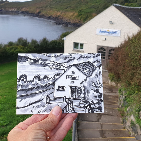 #253,Lambeage,Hall,,Coverack,,Cornwall,lambeage hall, coverack, sketch artist, sketchbook, original art, affordable art, mini art, postcard art, art project, artist, cornish art, church