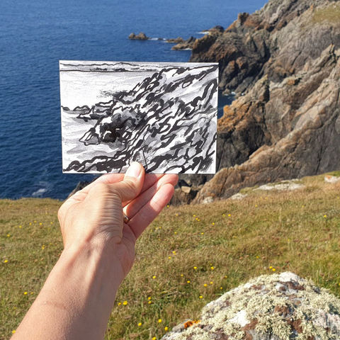 #254,Predannack,cliffs,,Lizard,,Cornwall,predannack, coverack, sketch artist, sketchbook, original art, affordable art, mini art, postcard art, art project, artist, cornish art, church