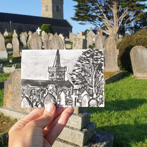#256,St.,Keverne,Church,,Lizard,Cornwall,st keverne, sketch artist, sketchbook, original art, affordable art, mini art, postcard art, art project, artist, cornish art, church