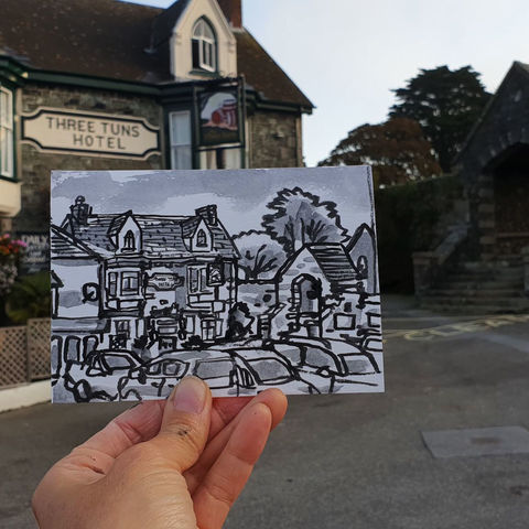 #257,Three,Tuns,Hotel,,St.,Keverne,,Lizard,Cornwall,st keverne, sketch artist, sketchbook, original art, affordable art, mini art, postcard art, art project, artist, cornish art, church