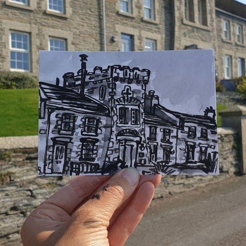 #259,Old,Coastguard,station,,Porthleven,,Cornwall,porthleven, coastguard station, sketch artist, sketchbook, original art, affordable art, mini art, postcard art, art project, artist, cornish art, church