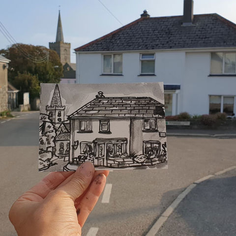 #260,Corner,cottage,,St.,Keverne,Cornwall,st keverne, sketch artist, sketchbook, original art, affordable art, mini art, postcard art, art project, artist, cornish art, church