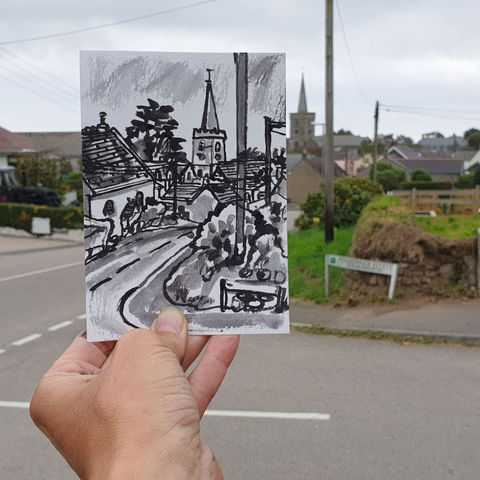 #261,St.,Keverne,Cornwall,st keverne, sketch artist, sketchbook, original art, affordable art, mini art, postcard art, art project, artist, cornish art, church