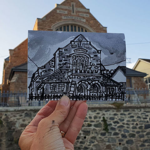 #262,Methodist,Chapel,,St.,Keverne,,Cornwall,st keverne, sketch artist, sketchbook, original art, affordable art, mini art, postcard art, art project, artist, cornish art, church