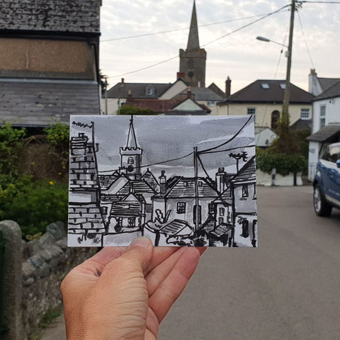 #263,St.,Keverne,,Cornwall,st keverne, sketch artist, sketchbook, original art, affordable art, mini art, postcard art, art project, artist, cornish art, church
