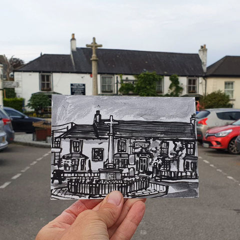 #264,The,White,Hart,Inn,,St.,Keverne,,Cornwall,st keverne, sketch artist, sketchbook, original art, affordable art, mini art, postcard art, art project, artist, cornish art, church