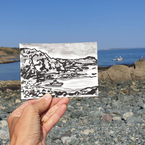 #265,Porthallow,beach,,Cornwall,st keverne, porthallow, sketch artist, sketchbook, original art, affordable art, mini art, postcard art, art project, artist, cornish art, church