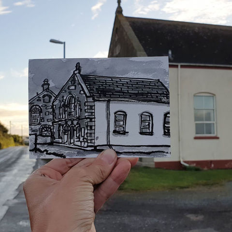 #267,Cury,Chapel,,Cury,,Cornwall, cury chapel, sketch artist, sketchbook, original art, affordable art, mini art, postcard art, art project, artist, cornish art, church