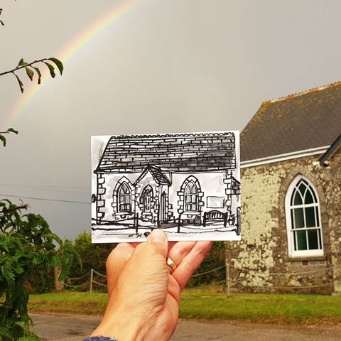 #268,Degibna,Prayer,Chapel,,Helston,,Cornwall,degibna prayer chapel, sketch artist, sketchbook, original art, affordable art, mini art, postcard art, art project, artist, cornish art, church