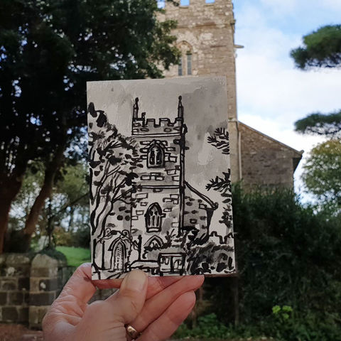 #269,St.,Martin,in,Meneage,Parish,Church,,Lizard,Peninsula,,Cornwall,st. martin in meneage, sketch artist, sketchbook, original art, affordable art, mini art, postcard art, art project, artist, cornish art, church