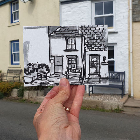 #270,The,Doll's,House,,Porthleven,,Cornwall,dolls house, porthleven, sketch artist, sketchbook, original art, affordable art, mini art, postcard art, art project, artist, cornish art, church