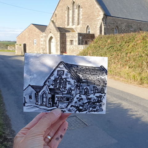 #271,Meneage,Methodist,Church,,Manaccan,,Cornwall,meneage methodist, sketch artist, sketchbook, original art, affordable art, mini art, postcard art, art project, artist, cornish art, church