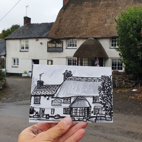 #272,The,New,Inn,,Manaccan,,Cornwall,manaccan, the new inn, sketch artist, sketchbook, original art, affordable art, mini art, postcard art, art project, artist, cornish art, church