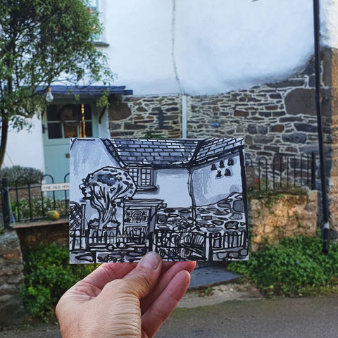 #273,The,Old,House,,Manaccan,,Cornwall,manaccan, the old house, sketch artist, sketchbook, original art, affordable art, mini art, postcard art, art project, artist, cornish art, church