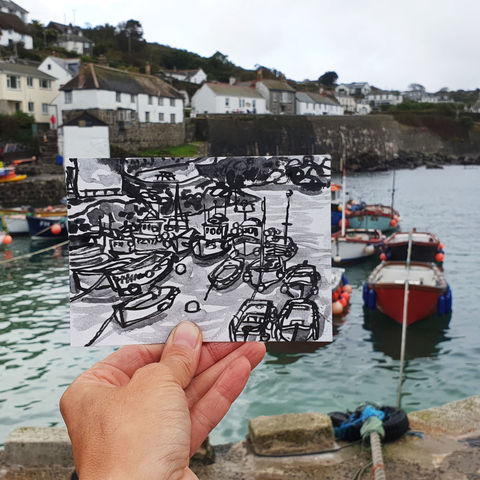 #274,Boats,at,Coverack,Harbour,,Cornwall,coverack, boats, harbour, sketch artist, sketchbook, original art, affordable art, mini art, postcard art, art project, artist, cornish art, church