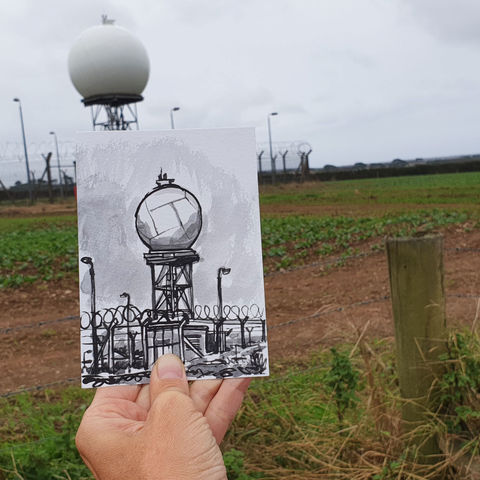 #275,Giant,golf,ball,,Rain,radar,,Helston,,Cornwall,rain radar, weather radar, big golf ball, sketch artist, sketchbook, original art, affordable art, mini art, postcard art, art project, artist, cornish art, church