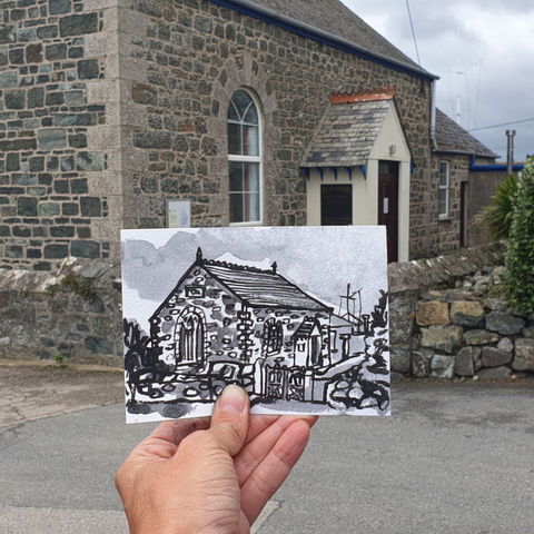 #276,Methodist,Chapel,,Ruan,Minor,,Cornwall,methodist chapel, ruan minor,  sketch artist, sketchbook, original art, affordable art, mini art, postcard art, art project, artist, cornish art, church