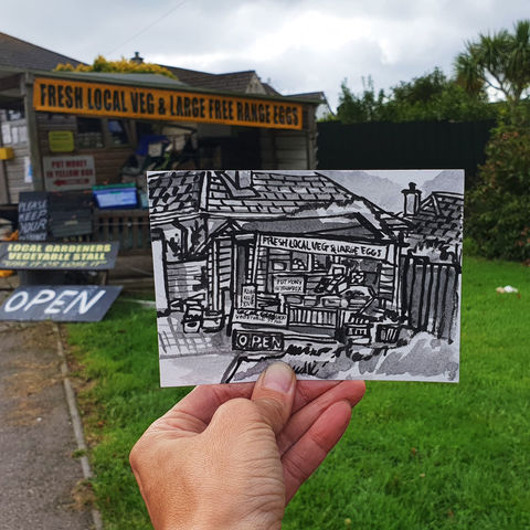 #277,Raymond's,fresh,veg,and,eggs,stall,,Helston,Cornwall,fresh veg, raymond's stall, helston, sketch artist, sketchbook, original art, affordable art, mini art, postcard art, art project, artist, cornish art, church