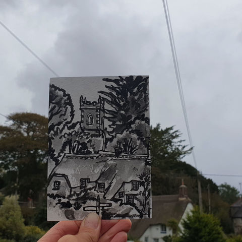 #278,Church,and,thatch,,Manaccan,,Cornwall,manaccan, sketch artist, sketchbook, original art, affordable art, mini art, postcard art, art project, artist, cornish art, church