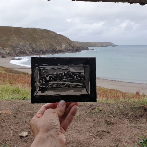 #279,Pillbox,Bunker,view,,Kennack,East,,Cornwall,bunker, pillbox, kennack sands, sketch artist, sketchbook, original art, affordable art, mini art, postcard art, art project, artist, cornish art, church