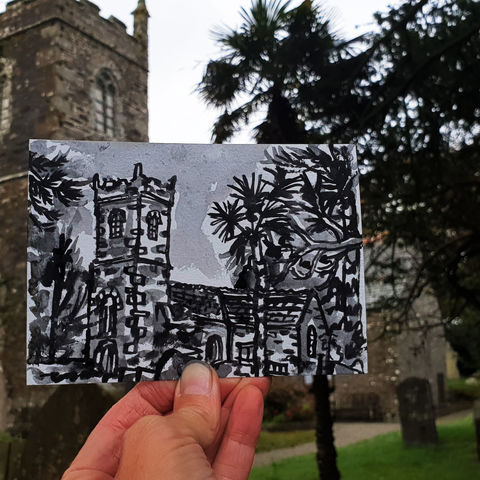 #280,Manaccan,Church,,Cornwall,manaccan church, manaccan, helford, sketch artist, sketchbook, original art, affordable art, mini art, postcard art, art project, artist, cornish art, church