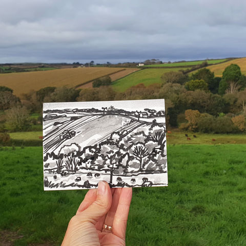 #282,Combine,harvester,,Helston,Cornwall,combine harvester, sketch artist, sketchbook, original art, affordable art, mini art, postcard art, art project, artist, cornish art, church