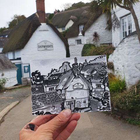 #283,Shipwrights,Arms,,Helston,Cornwall,shipwrights arms, helford, sketch artist, sketchbook, original art, affordable art, mini art, postcard art, art project, artist, cornish art, church