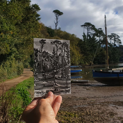 #285,Boats,on,Gillan,Creek,,Lizard,,Helston,Cornwall,boats, gillan creek, sketch artist, sketchbook, original art, affordable art, mini art, postcard art, art project, artist, cornish art, church