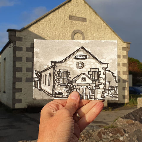 #286,The,Reading,Room,,Lizard,village,,Helston,Cornwall,reading room, lizard village, sketch artist, sketchbook, original art, affordable art, mini art, postcard art, art project, artist, cornish art, church