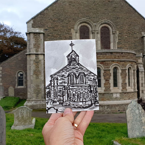 #296,St.,Bartholomew,,Porthleven,,Cornwall,st barts, church building, sketch artist, sketchbook, original art, affordable art, mini art, postcard art, art project, artist, cornish art, church