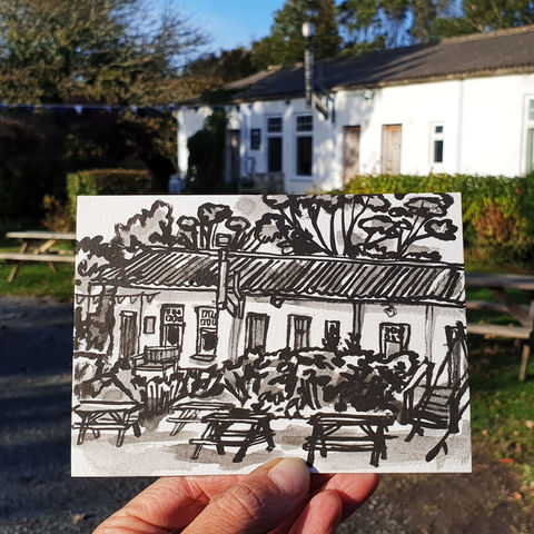#297,Fat,Apples,Cafe,,Porthallow,Cornwall,fat apples cafe, porthallow, sketch artist, sketchbook, original art, affordable art, mini art, postcard art, art project, artist, cornish art, church