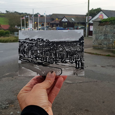 #302,Chocolate,Factory,,Mullion,Cornwall,chocolate farm, mullion, sketch artist, sketchbook, original art, affordable art, mini art, postcard art, art project, artist, cornish art, church