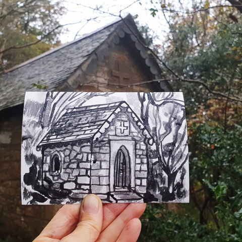 #304,St.,Francis,Chapel,,Helford,,Cornwall,st francis chapel, helford, sketch artist, sketchbook, original art, affordable art, mini art, postcard art, art project, artist, cornish art, church