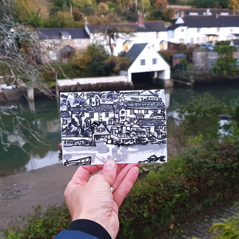 #308,Boat,house,,Helford,,Cornwall,helford, boat house, lizard peninsula, sketch artist, sketchbook, original art, affordable art, mini art, postcard art, art project, artist, cornish art, church