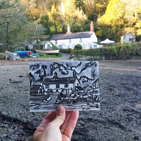 #309,Penarvon,Cove,,Helford,,Cornwall,penarvon, lizard peninsula, sketch artist, sketchbook, original art, affordable art, mini art, postcard art, art project, artist, cornish art, church