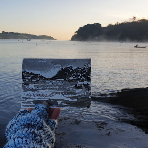 #310,Helford,River,,Cornwall,helford, lizard peninsula, sketch artist, sketchbook, original art, affordable art, mini art, postcard art, art project, artist, cornish art, church