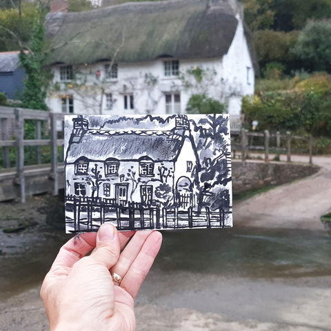 #311,Penkestle,Cottage,,Helford,,Cornwall,helford, lizard peninsula, sketch artist, sketchbook, original art, affordable art, mini art, postcard art, art project, artist, cornish art, church