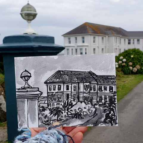 #312,Polurrian,Hotel,,Lizard,Cornwall,polurrian on the lizard, polurrian hotel, lizard peninsula, sketch artist, sketchbook, original art, affordable art, mini art, postcard art, art project, artist, cornish art, church